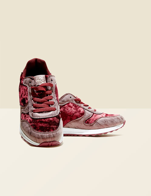Burgundy city-style trainers with sparkly detail