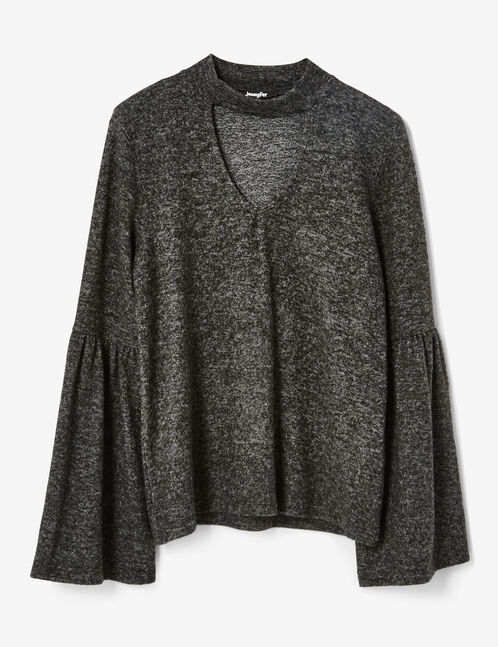 tee-shirt manches pagodes gris anthracite chiné