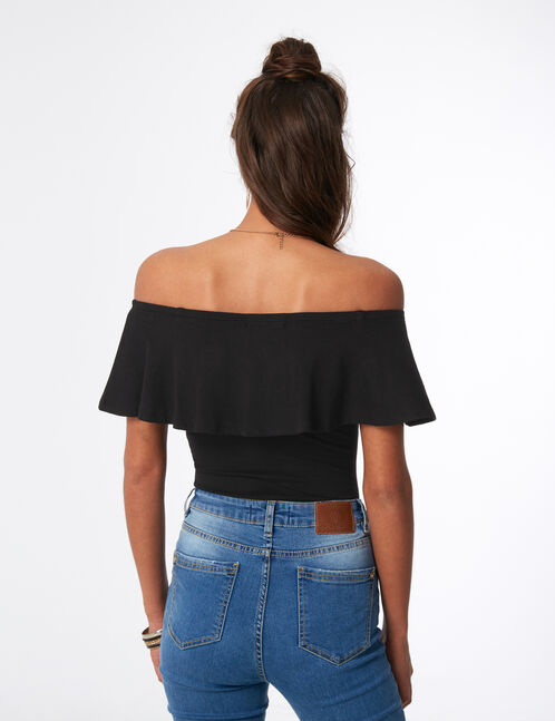 Black bodysuit with frill detail