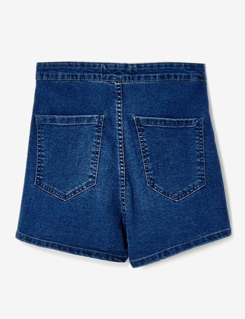 Dark blue high-waisted jegging shorts