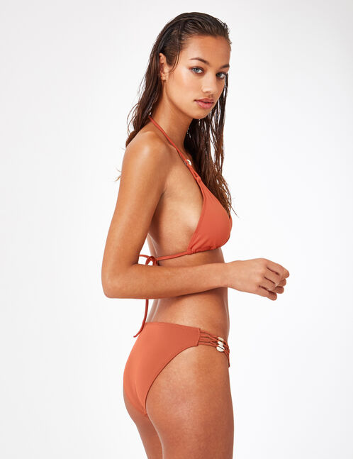 Rust-coloured triangular bikini top