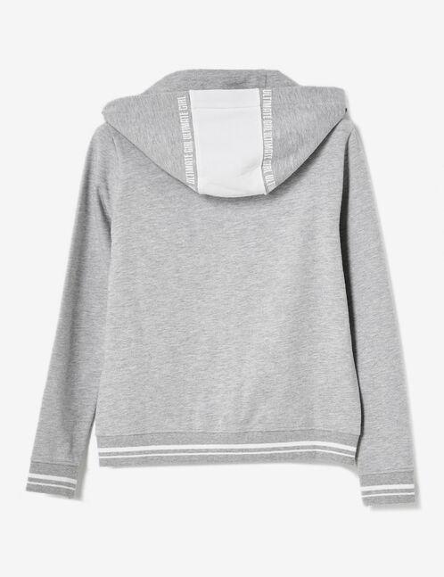 sweat à capuche zippé gris chiné