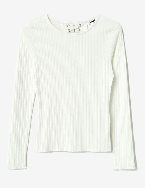 Cream ribbed top with lacing detail
