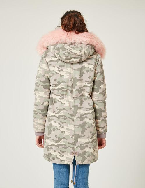 parka longue camouflage rose clair