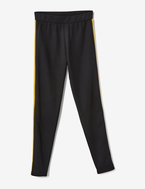 Black, yellow and white leggings with side stripe detail