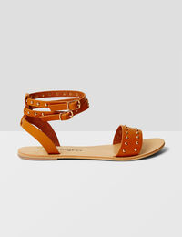 Jennyfer  sandales plates cloutées camel