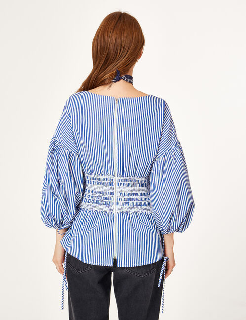 White and blue blouse with smocked waist detail