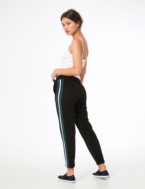 Black and green joggers with striped side trim detail
