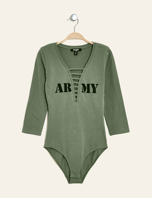 body imprimé army kaki