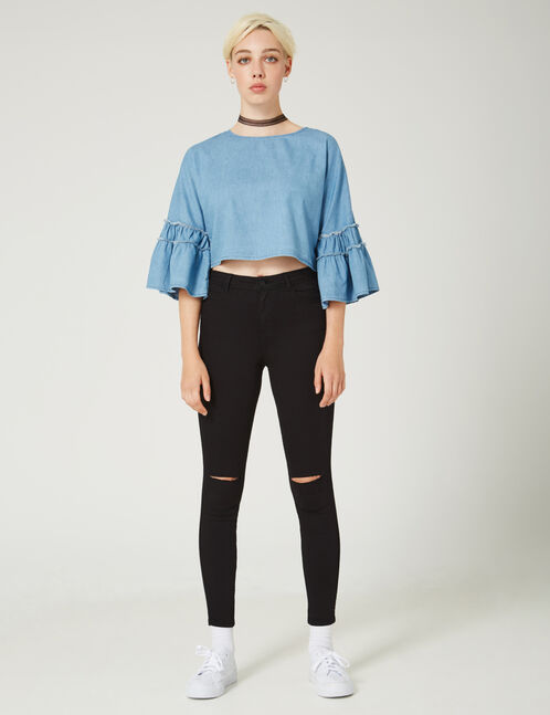 Black high-waisted ripped trousers