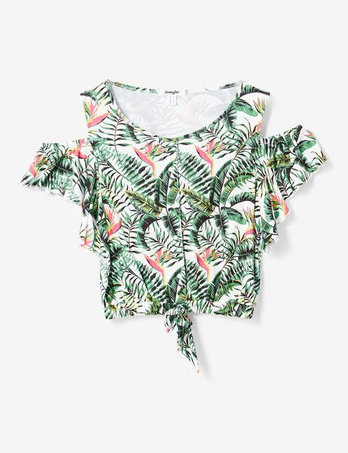 Cream tropical print T-shirt