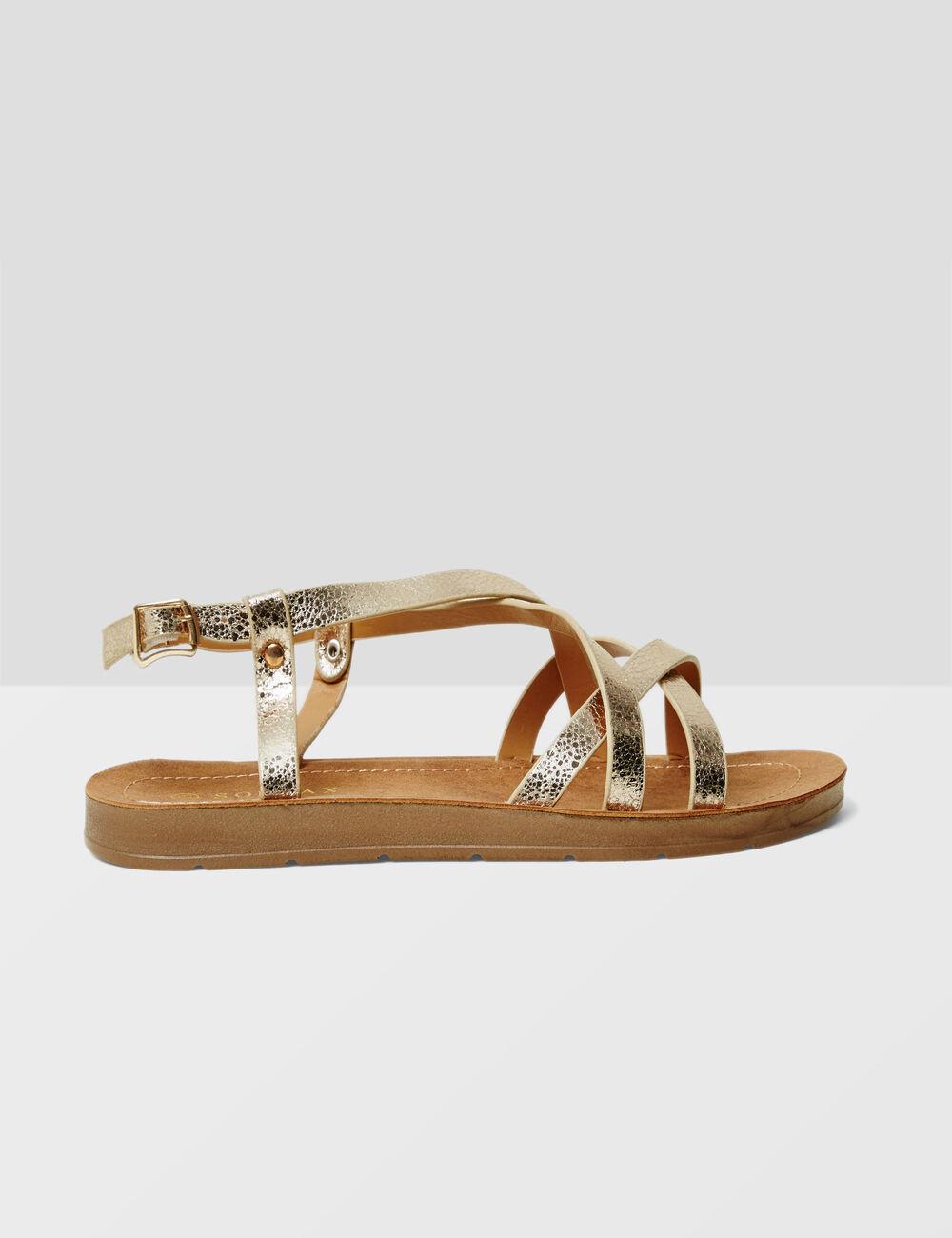 sandales plates avec liens dor es femme jennyfer. Black Bedroom Furniture Sets. Home Design Ideas
