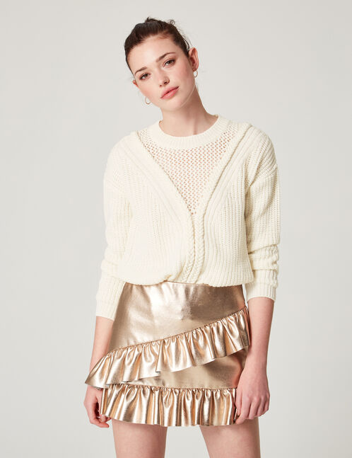 Cream jumper with braided knit detail