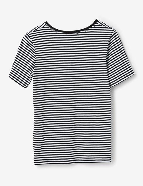 tee-shirt avec patch sequins noir et blanc