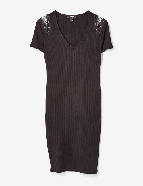 robe avec laçages épaules noire