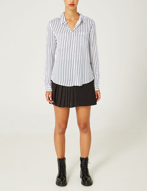 Black mixed fabric skirt