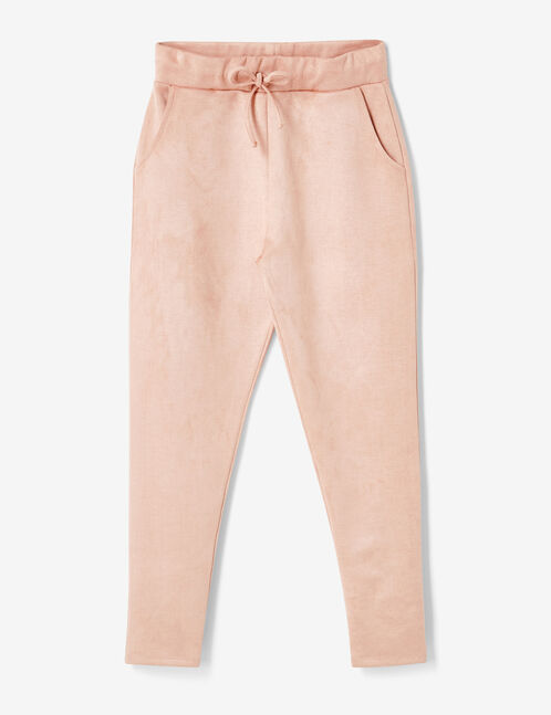 Light pink faux suede trousers