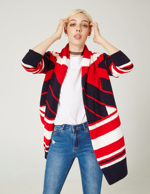 Navy blue tricolour open-front cardigan