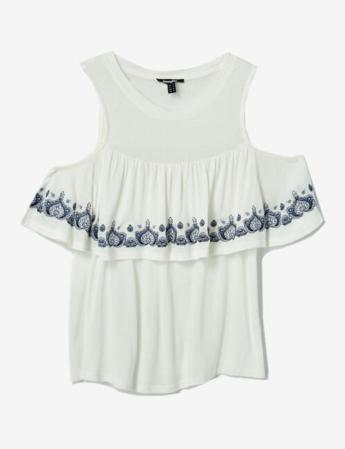 Cream and blue T-shirt with embroidery detail