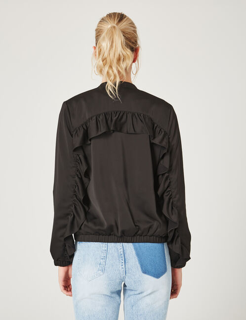 Black bomber jacket with frill detail