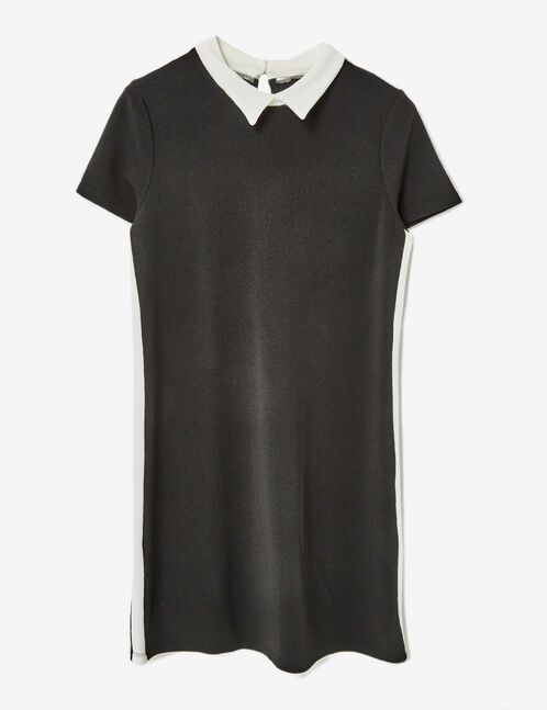 Black textured dress with white collar detail
