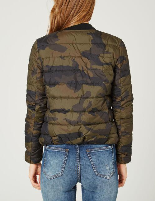 Khaki camouflage lightweight padded jacket