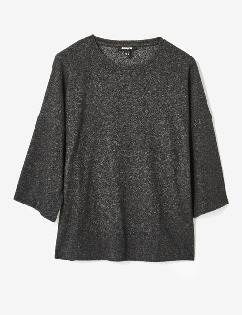 Charcoal grey marl top with gathered back detail