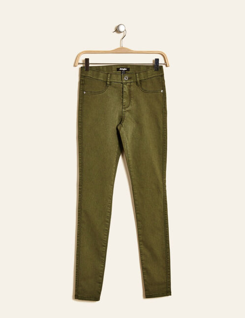 Khaki jeggings with elasticated waist