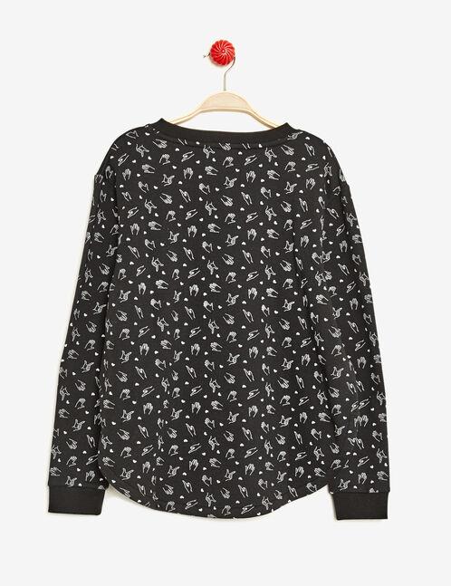 Black print sweatshirt with patch detail