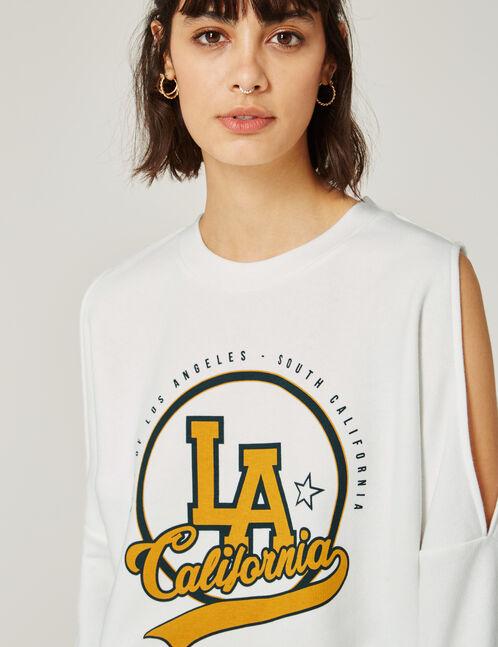 Cream cold shoulder sweatshirt