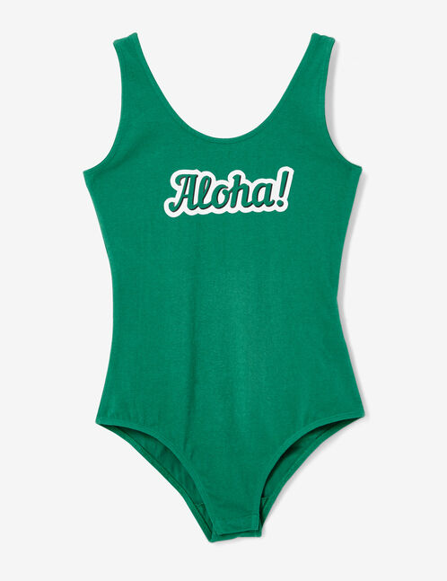Green bodysuit with text design detail