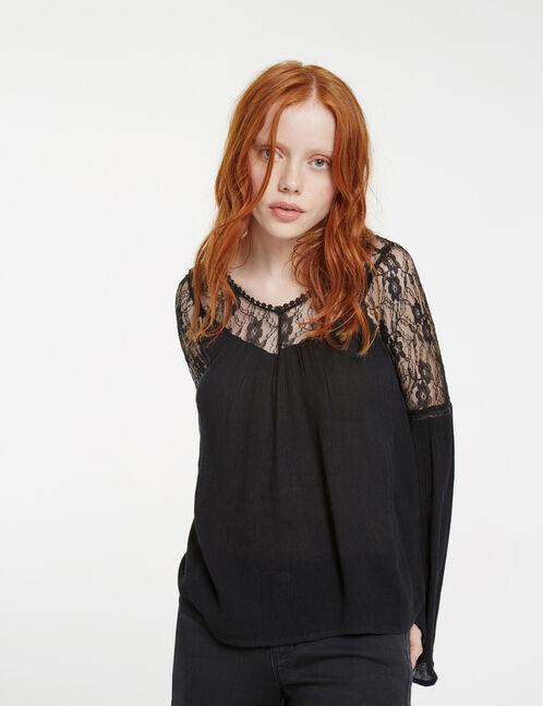 blouse bi-matière noire