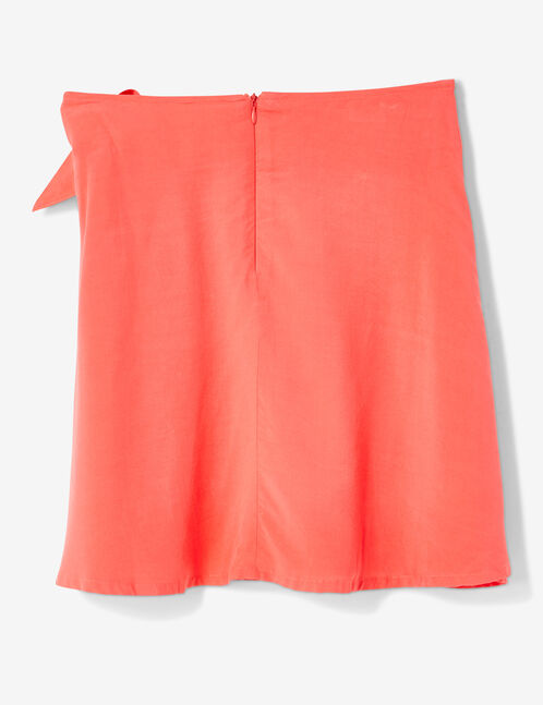 Raspberry pink tie-fastening skirt with frill detail