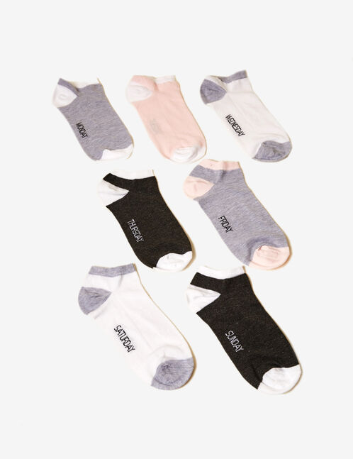 Grey, white and pink socks with text design detail