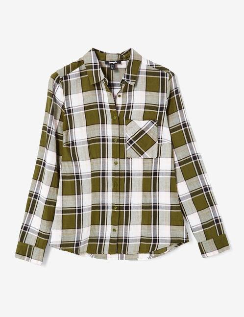 Basic khaki, pink and white checked shirt