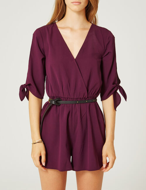 Purple playsuit with lace detail