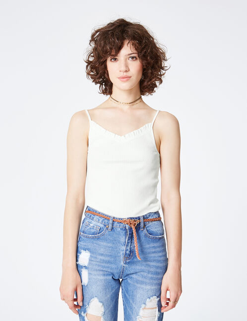 Cream tank top with frill detail