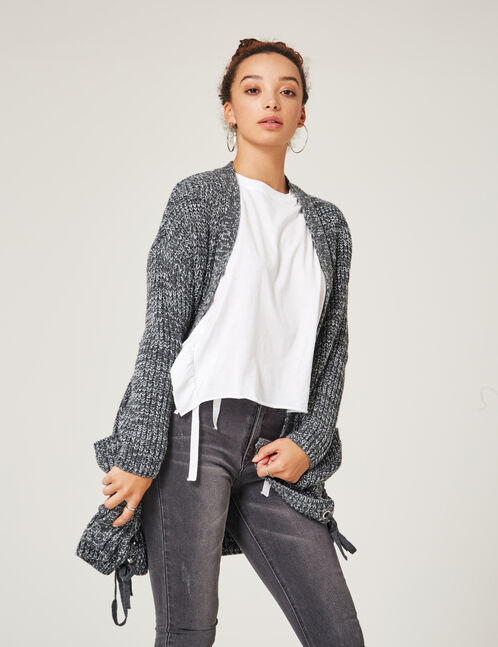 Long grey marl cardigan with lacing detail