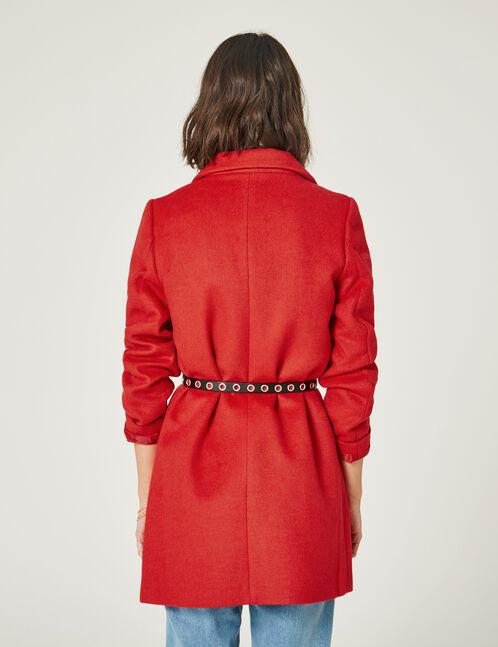manteau revers rouge