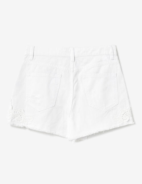 White shorts with lace detail