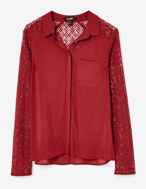 Burgundy mixed fabric shirt