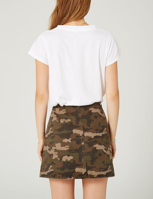 Khaki camouflage embroidered skirt