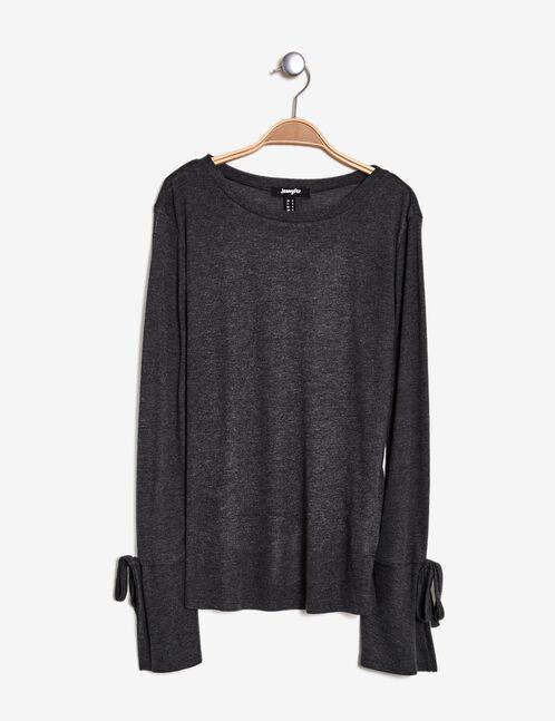 tee-shirt manches évasées gris anthracite chiné