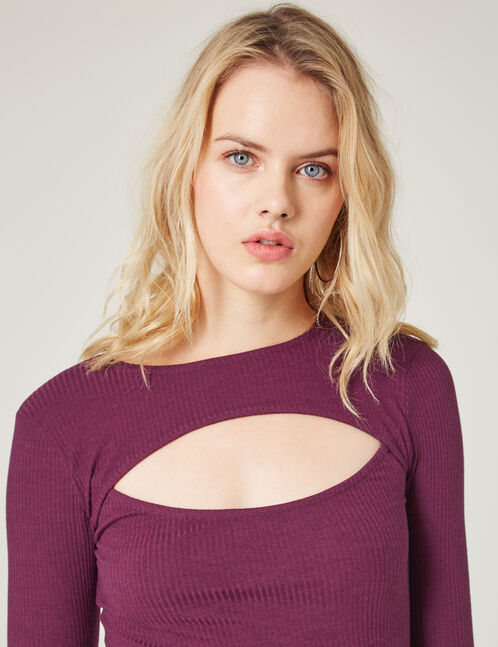 Purple ribbed bodysuit with cut-out detail