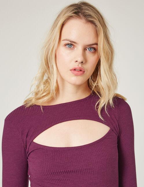 body côtelé avec ouverture violet