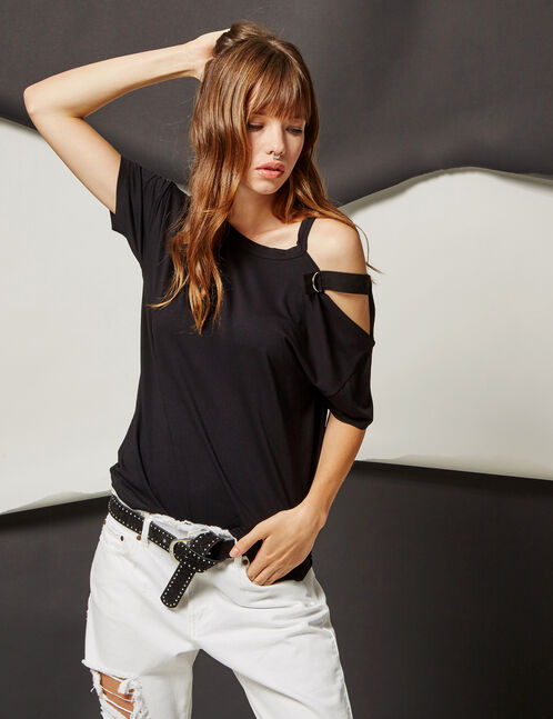 Black T-shirt with strap and buckle detail