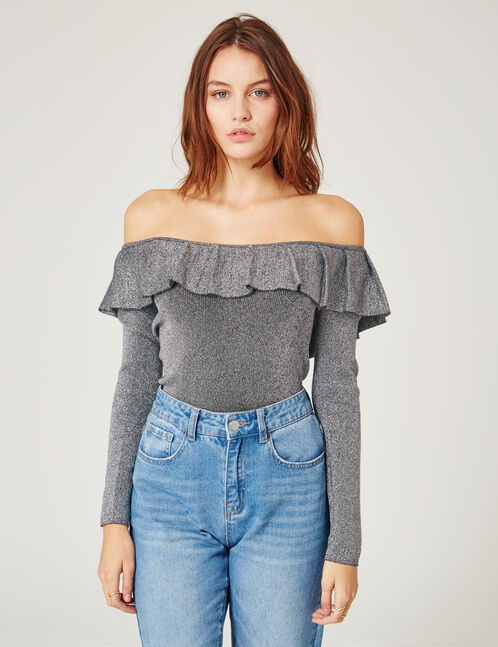 Charcoal grey and silver off-the-shoulder top with lurex detail