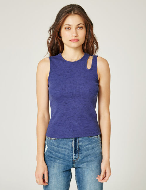 Blue marl tank top with cut-out detail