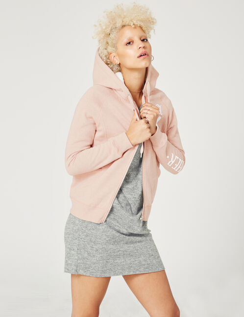 Light pink marl zip-up hoodie with text design detail