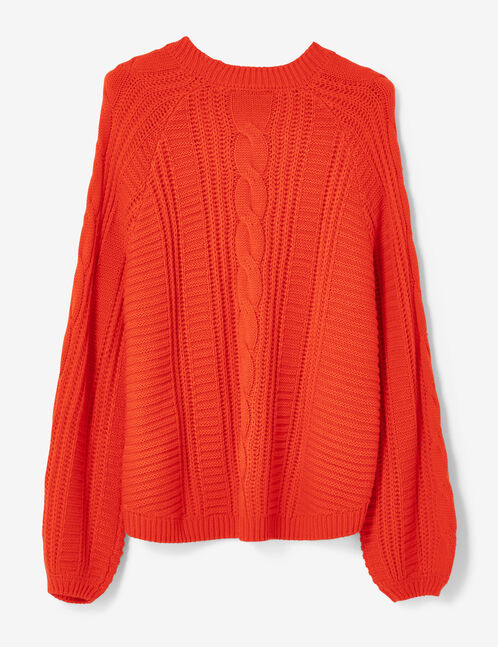 Red textured knit jumper
